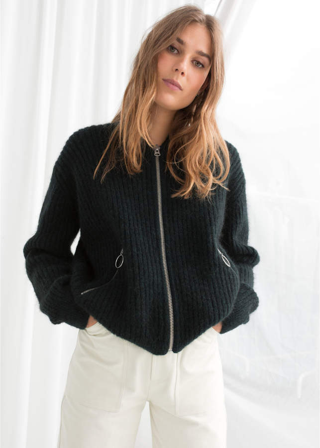 Wool Blend Knit Bomber