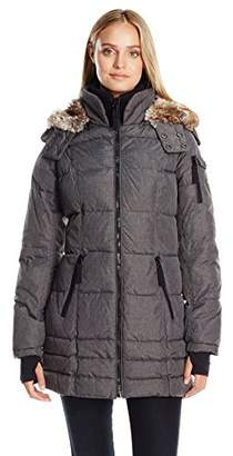 Nautica Women's 3/4 Puffer with Faux Fur Trim Hood in Etch Fabric $39.77 thestylecure.com