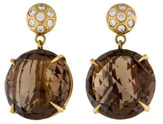 Carelle 18K Diamond & Smoky Quartz Drop Earrings