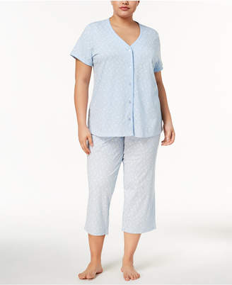 Charter Club Plus Size Picot-Trim Cropped Pajama Set, Created for Macy's