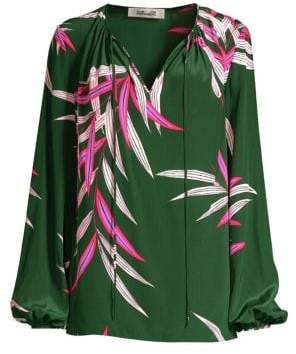 Diane von Furstenberg Tropical Silk Puff-Sleeve Blouse