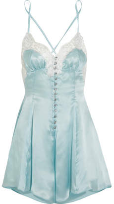 Rosamosario - Cosmic Love Metallic Lace-trimmed Silk-satin Playsuit - Sky blue