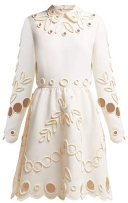 Valentino Floral Piping Embellished Crepe Midi Dress - Womens - Ivory