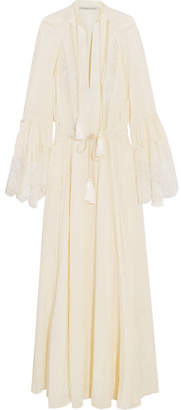 Lace-paneled Silk-jacquard Gown - Ivory