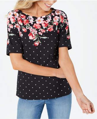 Karen Scott Mixed-Print Cuffed-Sleeve Top