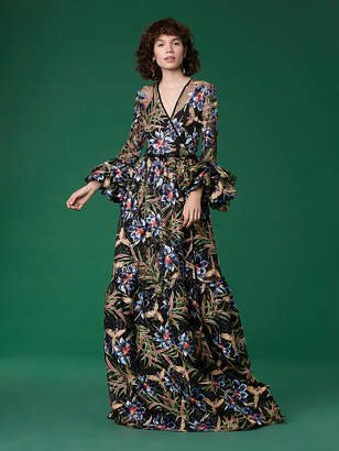 Diane von Furstenberg Puff Sleeve Embroidered Maxi Wrap Gown