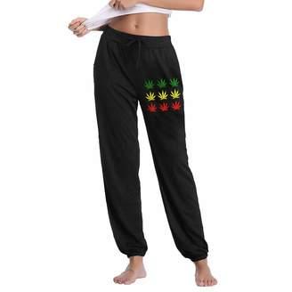 FlyhigherylF Marijuana Leaf Women's Joggers Sweatpants Cotton Long Pants with Pockets
