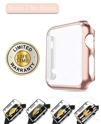 iClover Apple Watch 38mm Series 1 Screen Protector Case Ultra-Slim Electroplate Metal Plated Hard Cover with Full Coverage Tempered Glass Screen Protector Cover for Apple Watch 38mm,Rose Gold