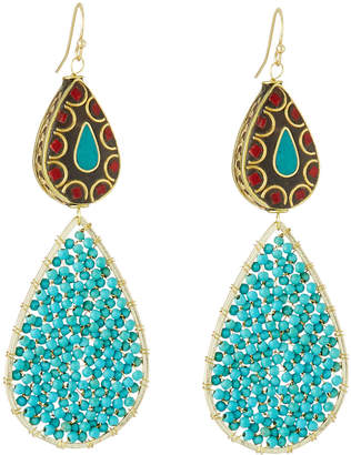 Panacea Beaded Double-Teardrop Earrings, Turquoise