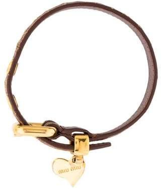 Miu Miu Leather Heart Charm Bracelet