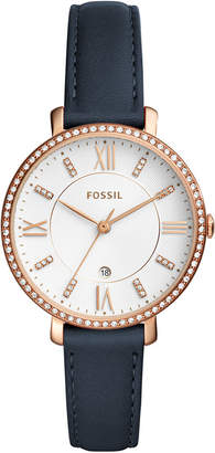 Fossil Women's Jacqueline Blue Leather Strap Watch 36mm