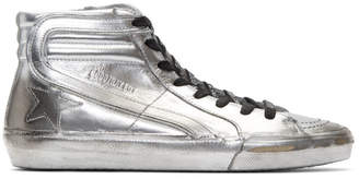 Golden Goose Silver Limited Edition Slide High-Top Sneakers