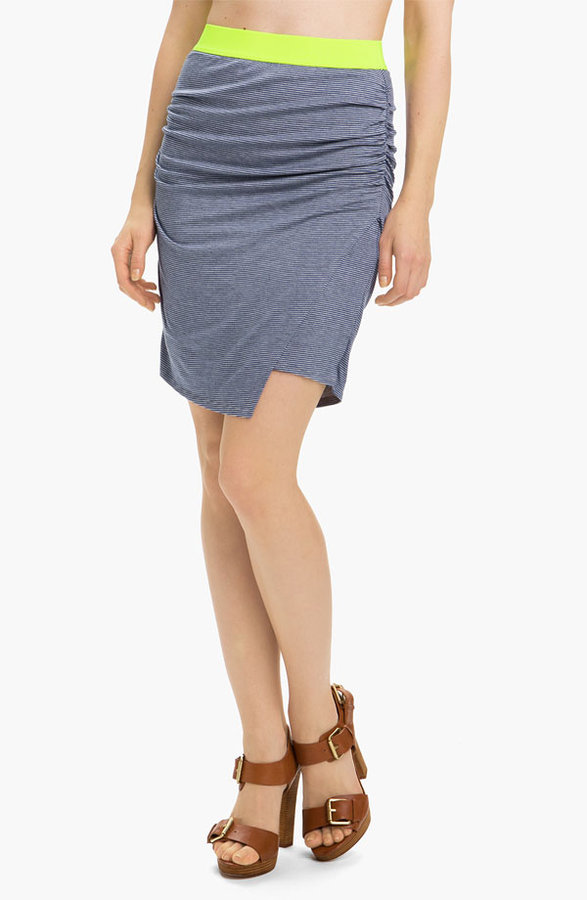 Stem Colorblock Faux Wrap Skirt