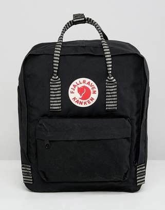 Fjallraven Kanken backpack in black with striped straps 16l