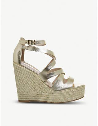 Office Hot Love Strappy metallic espadrille wedge sandals