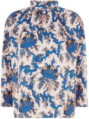 Sandro Printed Silk Blouse