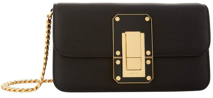 TOM FORD Eve Leather Clutch Bag, Black, One Size