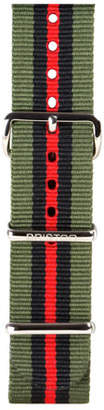 Briston 20mm Striped Nylon Watch Strap, Green/Black/Red