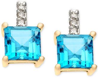 Macy's Blue Topaz (2-1/3 ct. t.w.) & Diamond Accent Stud Earring in 14k Gold