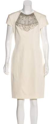 Lela Rose Chain-Embellished Knee-Length Dress