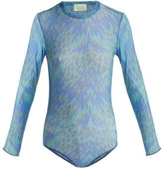 Aries Tiger Print Mesh Bodysuit - Womens - Blue