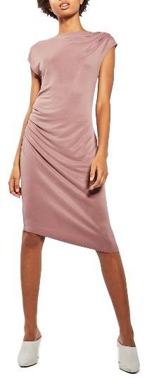 TopshopWomen's Topshop Asymmetrical Slinky Drape Midi Dress