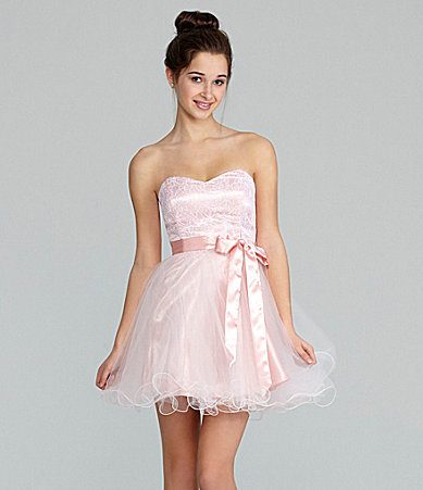 Masquerade Strapless Lace Party Dress