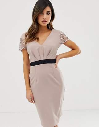 Little Mistress short sleeve faux pearl contrast waist trim midi dress