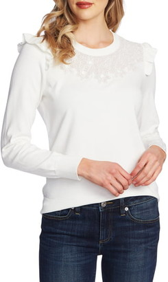 CeCe Floral Embroidered Pullover