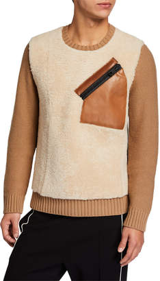 Valentino Men's Wool\/Leather Sweater