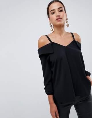 AX Paris black cold shoulder blouse