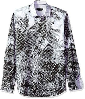 Bugatchi Men's Classic Fit Printed Long Sleeve Point Collar Shirt