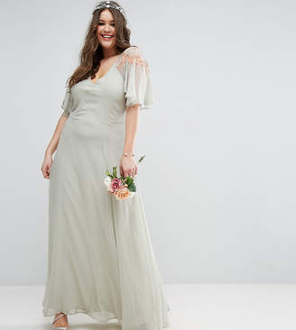 Asos Wedding Lace Applique Cape Maxi Dress