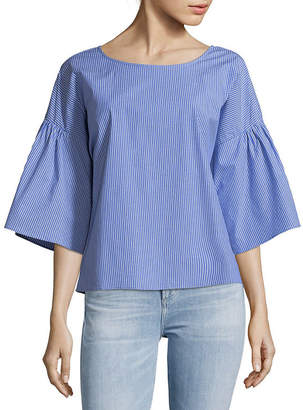 Vince Camuto Pinstripe Bell-Sleeve Top