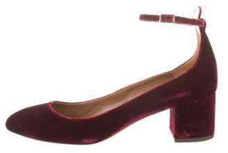 Aquazzura Velvet Ankle Strap Pumps