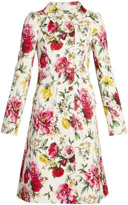 Dolce & Gabbana Floral-brocade point-collar double-breasted coat