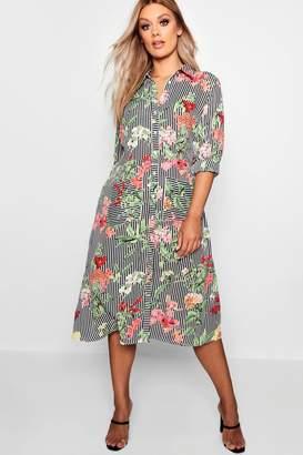 boohoo Plus Floral & Stripe Shirt Midi Dress