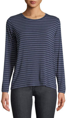Neiman Marcus Majestic Paris for Striped Crewneck Long-Sleeve Tee with Inverted Pleat