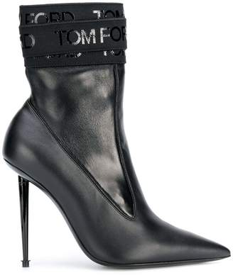 Tom Ford logo bandage pointed ankle boots