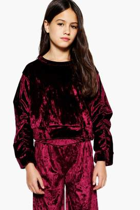 boohoo Girls Rouched Sleeve Cropped Sweat