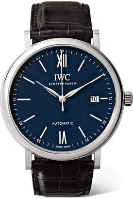 IWC SCHAFFHAUSEN - Portofino Automatic 40mm Stainless Steel And Alligator Watch - Silver