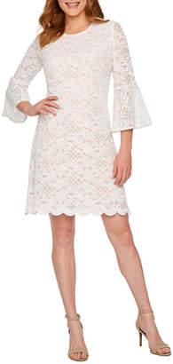 Ronni Nicole 3/4 Bell Sleeve Lace Sheath Dress