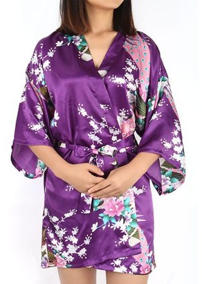 Unique Bargains Satin Robe Dressing Gown Rayon Wedding Bride Bridesmaid (Dark Purple Floral, XL)