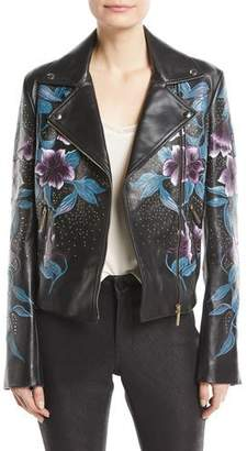 Elie Saab Zip-Front Floral-Print Studded Lambskin Leather Moto Jacket