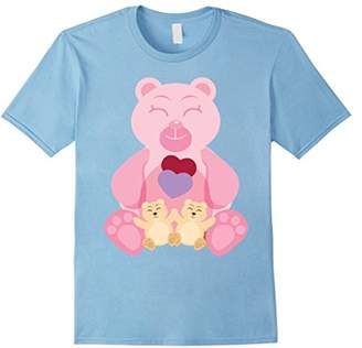 Pink Mommy Bear & Twin Cubs Gift Women's Tshirt Tee
