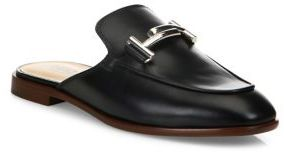 Tod's Double-T Leather Slip-On Mules $595 thestylecure.com