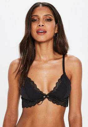 Missguided Black Longline Jersey Lace Soft Bra