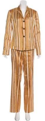 Etro Silk Striped Pantsuit Tan Silk Striped Pantsuit