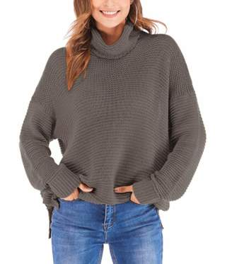 Fashion SH Womens Turtleneck Long Sleeve Casual Loose Chunky Knit Pullover Sweater