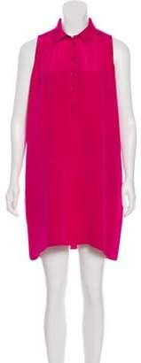 Saint Laurent Button-Up Silk Dress Magenta Button-Up Silk Dress